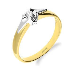 Pierścionek zaręczynowy UNICO z diamentem na białym rodowaniu DI 526-04 próba 585