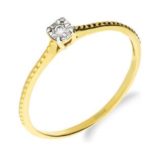 Pierścionek SOLITER z diamentem DI t464-05 próba 585
