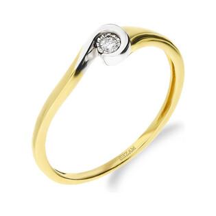 Pierścionek BRAID diament otulony w szynie KU 3687 próba 585