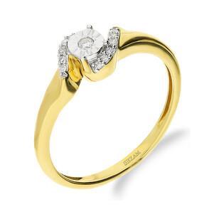 Pierścionek MIRAGE z diamentem otulonym małymi diamentami KU 4093 próba 585