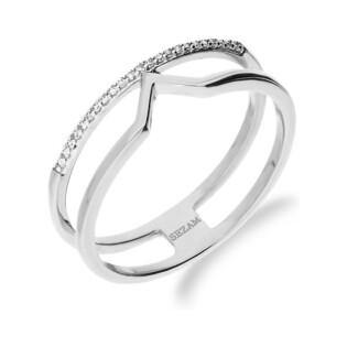 Pierścionek LINE z diamentami w rzędzie KU 6585 białe złoto próba 585