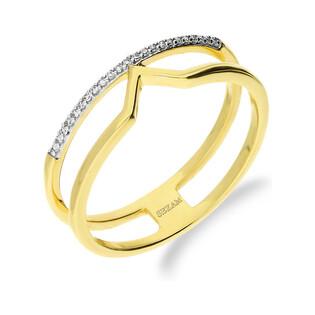 Pierścionek LINE z diamentami w rzędzie KU 6585 próba 585