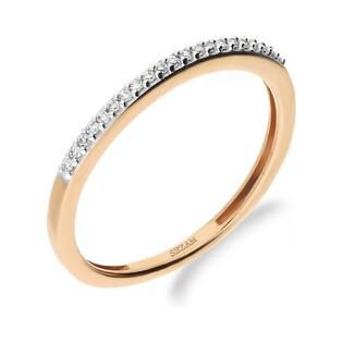 Pierścionek LINE z diamentami różowe złoto 1R-0,055ct KU 10295 R próba 585