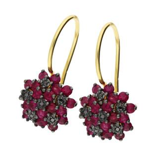 Kolczyki złote z czarnymi diamentami i rubinami/bigiel DI 507-rubin-bd próba 585
