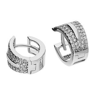 Kolczyki srebrne blaszki kółka z cyrkoniami 4r OL OKP625 próba 925