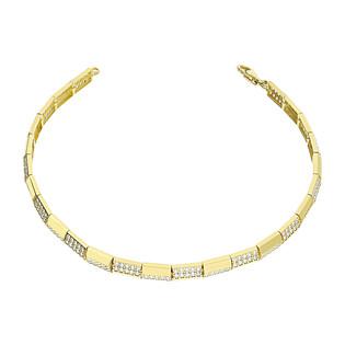 Bransoleta złota kostki gładkie i z cyrkoniami LP 13U225-DB0002-Y-CZ próba 585