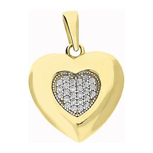 Serduszko złote serce z cyrkoniami i ramka blask LP 34U20-DCP0075-YW-CZ próba 585