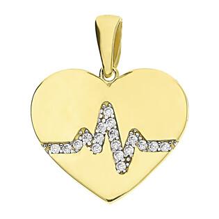 Zawieszka złota serce z pulsem i cyrkoniami LP 34U20-DP0234-Y-CZ próba 375