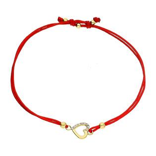Bransoleta złota sznurkowa z sercem z cyrkoniami LP 34U25-B0034-Y-R-IP próba 585