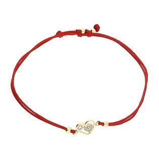 Bransoleta złota sznurkowa serce w sercu z cyrkoniami LP 34U25-B0095-Y-IP próba 333