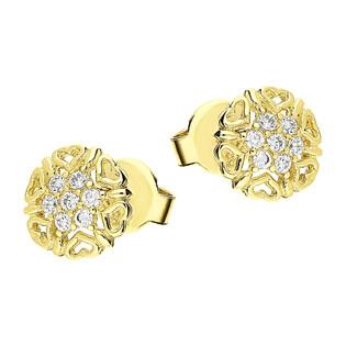 Kolczyki złote kwiatek z serc z cyrkoniami na środku/sztyft LP 53U20-C228 próba 585