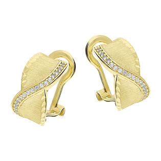 Kolczyki złote blaszki+fale z cyrkoniami/omega LP 55U22-GLE00350-Y próba 585