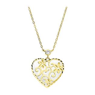 Naszyjnik złoty serce ornament z masą perłową+cyrkonia LP 68EK45-N313MOP-CZ próba 585