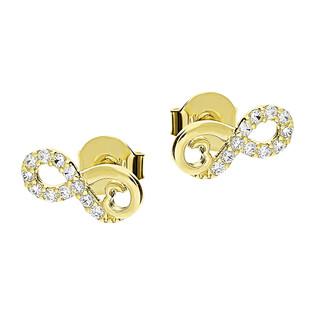 Kolczyki złote infinity z cyrkoniami i sercem/sztyft LP JTDK130496-Y próba 585