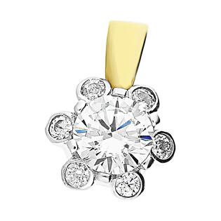 Zawieszka złota kwiatek z cyrkoniami M2 25-541-1 próba 585