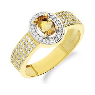 Pierścionek złoty żółty kamień jubilerski z cyrkoniami NB 50730 CYT próba 585