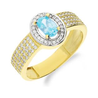 Pierścionek złoty niebieski kamień jubilerski z cyrkoniami NB 50730 TOP próba 585