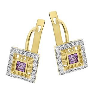 Kolczyki złote kwadrat z cyrkoniami i ametystem/ang.zap AS594 AM próba 375