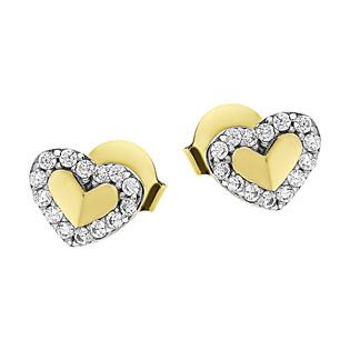 Kolczyki złote łamane serce w sercu z cyrkoniami/sztyft MZ T5-ES-135-CZ próba 375