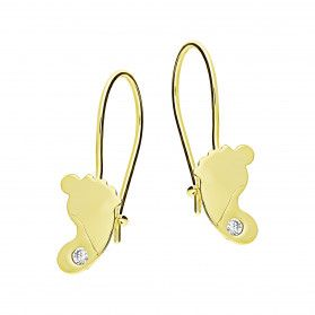 Kolczyki złote stópki z cyrkonią nr MZ T23-E-0219-11-LZ-CZ próba 585