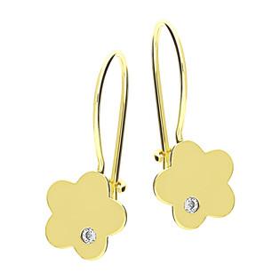Kolczyki złote kwiatek z cyrkonią/bigiel MZ T23-E-0219-5-LZ-CZ próba 375