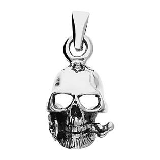 Zawieszka srebrna czaszka z różą NI XX7 próba 925