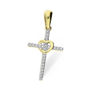Złoty krzyżyk z sercem i diamentami LINE KU 102477 próba 585 Sezam - 1