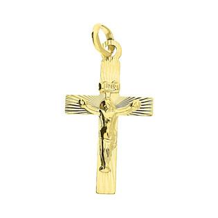 Krzyżyk złoty z wizerunkiem ramiona kwadratowe grawerowane CB C-457 próba 333