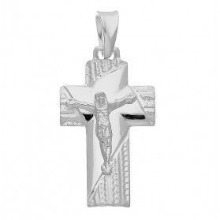 Krzyżyk wizerunek blask żłobiony ram.kw NI06 rod próba 925