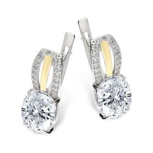 Kolczyki srebrne z cyrkonią i złotą blaszką/ang.zap. PX 206_AU375 blaszka gold