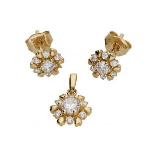 Kolczyki kwiatuszki z cyrkoniami E0816-6-CZ Au 333 Sezam - 1