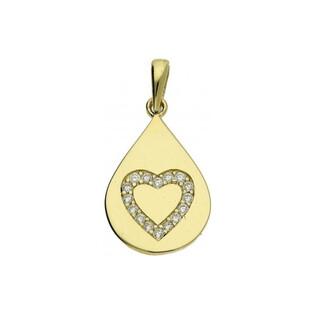 Zawieszka gładka z cyrkoniami w kształcie serca P331-CZ Au 333 Sezam - 1