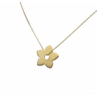 Naszyjnik złoty typu celebrytka nr AR 0178-II GS kwiatek próba 585 Sezam - 1