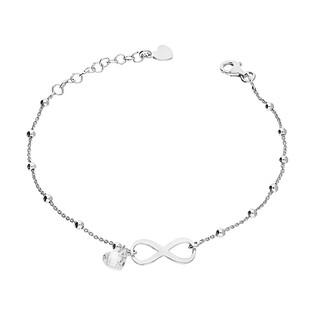 Bransoleta srebrna infinity, pojedyncza cyrkonia, serce i gładkie kulki NI613-1 próba 925