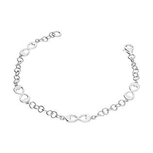 Bransoleta srebrna infinity z wyciętymi sercami/rolo NI647 próba 925