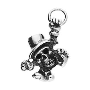 Zawieszka srebrna czaszka bokiem w kapeluszu NI XX38 próba 925