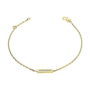 Bransoleta złota prostokąt z cyrkoniami w rzędzie/anker OL OSN018 próba 585