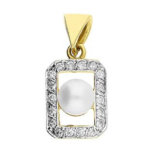 Zawieszka złota prostokąt z perłą i cyrkoniami OP446 próba 585