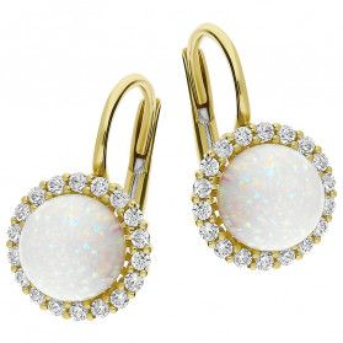 Kolczyki złote opal biały kulka i cyrkonia wkoło bigiel nr OS 96-0561 OPL próba 585