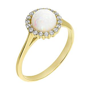 Pierścionek złoty opal biały kulka i cyrkonie wkoło nr OS 96-0561 OPL próba 585