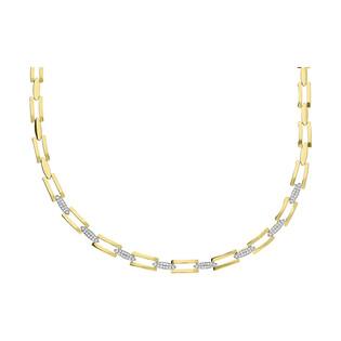 Naszyjnik złoty cyrkonie owal i prostokąty ażur nr OS 193-Z027 próba 585