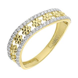Pierścionek złoty fale z cyrkoniami i kwiatki S3 ALY-016 próba 375