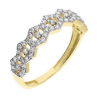 Pierścionek złoty cyrkonie w sześciokątach/obrączkowy S3 CLC-306 próba 375