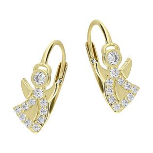 Kolczyki złote anioł tańczący z cyrkoniami/big.zam. S3 ELY-0046 próba 375