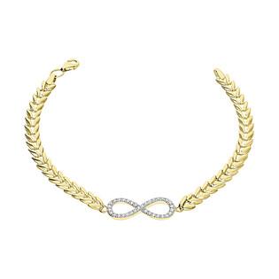 Bransoleta złota infinity z cyrkoniami/jodełka składak S3 PB-138 próba 585