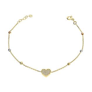 Bransoleta złota serce z cyrkoniami i grawerowane kulki/anker S3 SB-26 próba 585