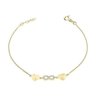 Bransoleta złota infinity z cyrkoniami i grawerowane seca /anker S3 SB-84 próba 585