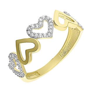 Pierścionek złoty MARIAGE z sercami S3 SCY-147 próba 585