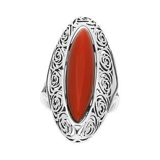 Pierścionek łezka z bordowym kamieniem+ażur SZ233-1 próba 925