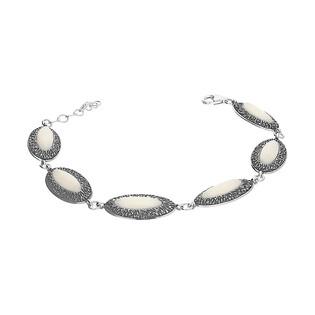 Bransoleta podłużne owale z białym kamieniem+ramka kora SZ258 biały perłowy próba 925
